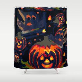 Spooky Night of Ghost and Jackolanterns by Lorloves Design Shower Curtain