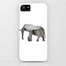 Black Watercolor Elephant iPhone Case