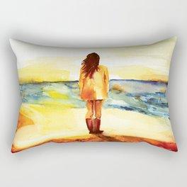Girl on Beach Rectangular Pillow