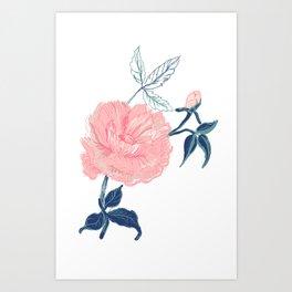 Vintage rose with indigo palette Art Print