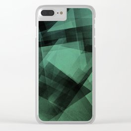 Mint and Black - Digital Geometric Texture Clear iPhone Case