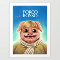 studio ghibli Art Prints featuring Studio Ghibli - Porco Rosso by Laurence Andrew Page Illustrator