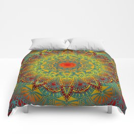 Oriental Watercolor Flower Mandala Comforters