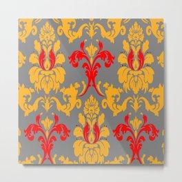 Modern Red-Gold & Grey Damask Pattern Metal Print