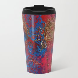 Multi-Media Henna Mehndi Print Red Pink Turquoise Travel Mug