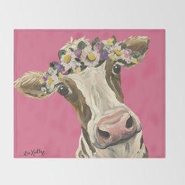 Cute Cow Art, Colorful Flower Crown Cow Art Throw Blanket