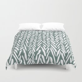 Herringbone pattern - moss green and white Duvet Cover