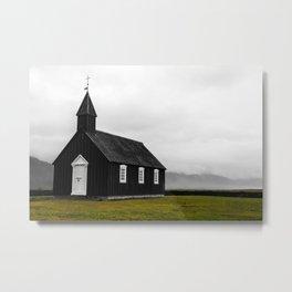 Black Church in Iceland Metal Print