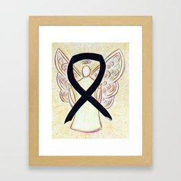 Black Awareness Ribbon Angel Art Painting Framed Art Print