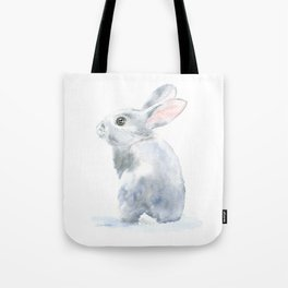 Gray Bunny Rabbit Watercolor Painting Tote Bag
