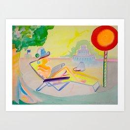 Relaxing in the Chaise, Birthday Cake, Sunshine, Newspaper Art Print