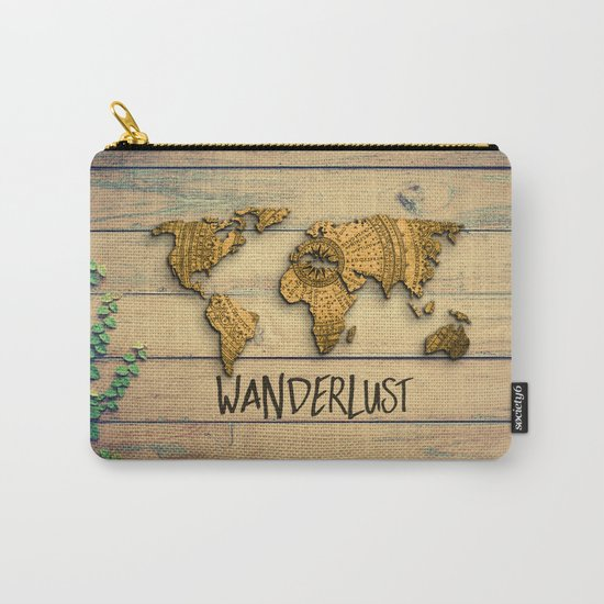 Wanderlust Vintage Map Carry-All Pouch