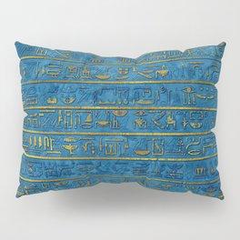 Golden Embossed Egyptian hieroglyphs on blue Pillow Sham