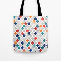 moroccan Tote Bags featuring Sea & Spice Moroccan Pattern by micklyn