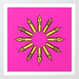 Dip Pen Nibs Circle (Magenta and Yellow) Art Print