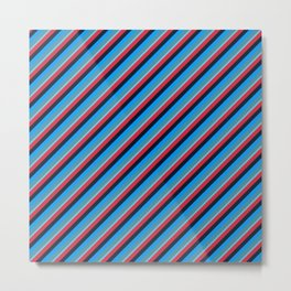 Blue Red Inclined Stripes Metal Print