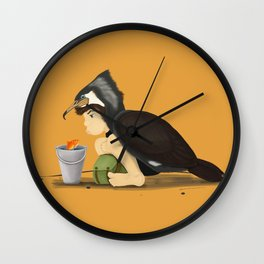 Little Black Cormorant Wall Clock