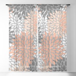 Floral Pattern, Coral, Gray, White Sheer Curtain