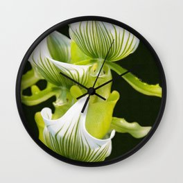 Green Orchid Wall Clock