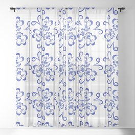 Abstract flowers in blue Sheer Curtain