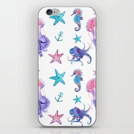 Watercolor Sea Life iPhone Skin