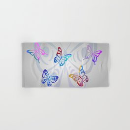 Big Butterflies with grey background Hand & Bath Towel