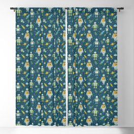Robots in Space - Blue + Green Blackout Curtain