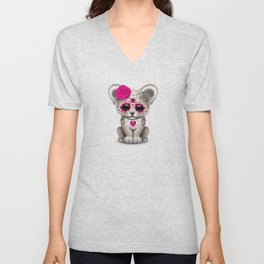 Pink Day of the Dead Sugar Skull White Lion Cub Unisex V-Neck