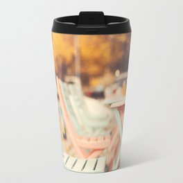 Dream Autumn (Pink and blue coffee shop chairs on retro and vintage fall) Travel Mug