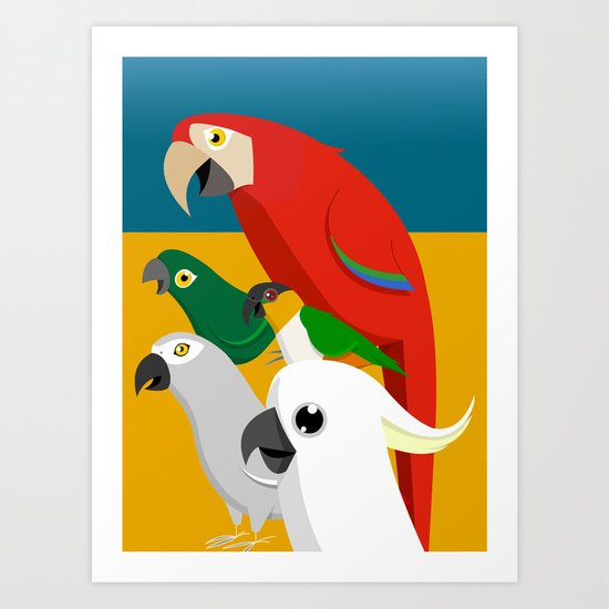 Loud Parrots Art Print