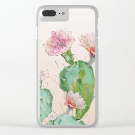 spring cacti flowers Clear iPhone Case