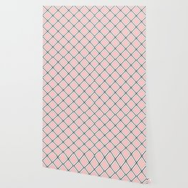 Pink -  gray and white checkered pattern Wallpaper