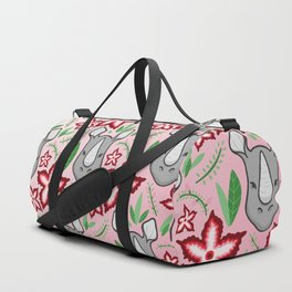 Rhino With Flowers Duffle Bag