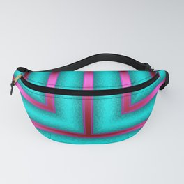 Art Deco Geometric Green and Pink Glowing Columns Fanny Pack