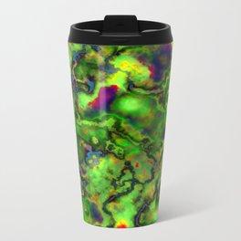 Green Marbleized Pattern Metal Travel Mug