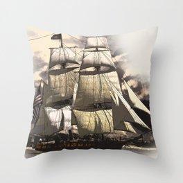 sailing ship vintage Throw Pillow