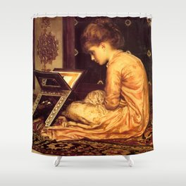 """Frederic Leighton """"Study at a Reading Desk"""" Shower Curtain"""
