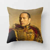 allyson johnson Throw Pillows featuring Dwayne (The Rock) Johnson - replaceface by replaceface