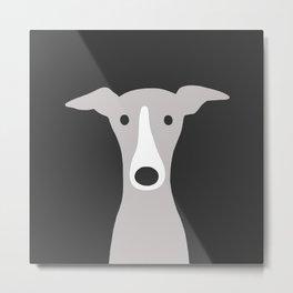 Cute Greyhound, Italian Greyhound or Whippet Cartoon Dog Metal Print
