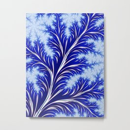 Abstract Blue Christmas Tree Branch with White Snowflakes Metal Print