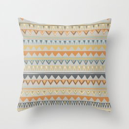 Colorful Hand Drawn Ethnic Pattern Throw Pillow