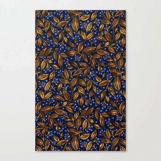 BLUE BERRIES GOLDEN LEAVES Canvas Print
