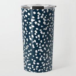 Navy Dots abstract minimal print design pattern brushstrokes painterly painting love boho urban chic Travel Mug