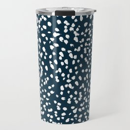 Navy Dots abstract minimal print design pattern brushstrokes painterly painting love boho urban chic Travel Mug
