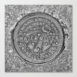 New Orleans Water Meter Cover Crescent City Louisiana Canvas Print
