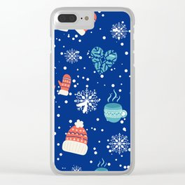 Winter Pattern Mittens Mugs Hearts Snow Flakes Clear iPhone Case