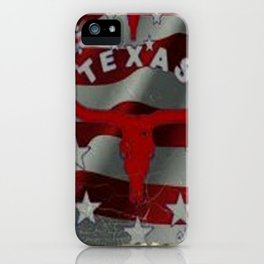 Texas Red & White Americana Longhorn Logo Pattern Art iPhone Case