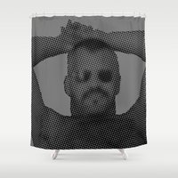 sunglasses Shower Curtains featuring Sunglasses by HuskyWorship