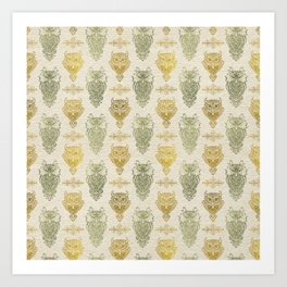 Gold and Green Glitter owl pattern on canvas Art Print