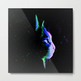 Neon cat of the Galaxy Metal Print